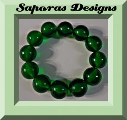 Christmas Green Beaded Bracelet Stretchable Elastic Fits Most Wrist