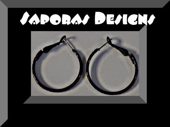 Image 0 of Black Hoop Design Earrings Biker Chic Gothic Punk Rock Style
