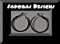 Black Hoop Design Earrings Biker Chic Gothic Punk Rock Style