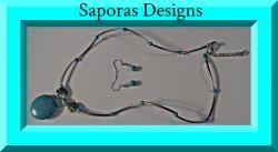 Tibetan Silver & Turquoise Necklace & Earring Jewelry Set Native Ethnic Tribal