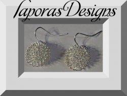 Silver Tone Dangle Snow Ball Design Earrings