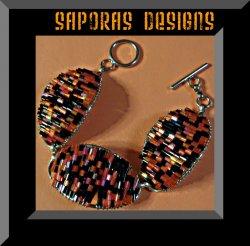 Handmade Black & Orange Beaded Bracelet With Silver Tone Finish Native Ethnic