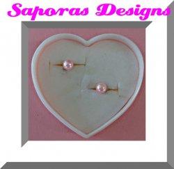 Pink Faux Pearl Stud Earrings