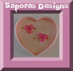 Pink Flower Design Stud Earrings