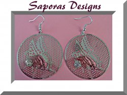 Silver Tone Round Circle Dangle Butterfly Design Earrings With Clear Crystal
