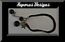 Handmade Black Braided Rope Bracelet With Black Beads & Vintage Silver Tone Star