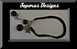Handmade Black Braided Rope Bracelet With Black Beads & Vintage Silver Tone Star