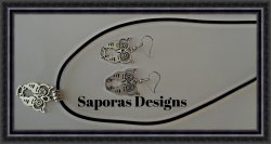 Silver Tone Owl Design Dangle Earring & Necklace Jewelry Set