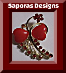 Gold Tone Flower / Heart Design Brooch With Red Crystals & Red Beads