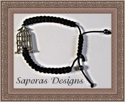 Handmade Black Braided Rope Bracelet With Birdcage Charm