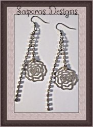 Silver Tone Dangle Earrings With Flower Designs & Clear Crystals