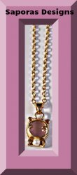 Gold Tone Cat / Kitten Design Necklace With White Faux Pearl & Pink Bead