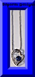 18KRP Heart Design Necklace With Blue & Clear Crystals