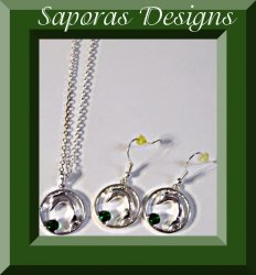 Silver Tone Dolphin Design Necklace & Dangle Earring Jewelry Set With Crystal