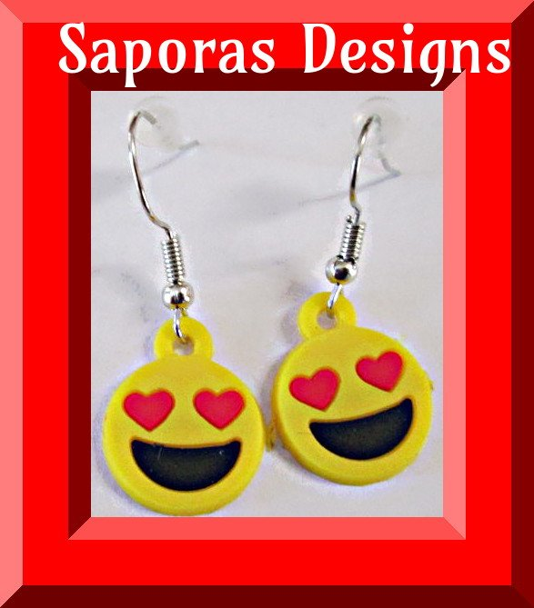 Image 0 of Dangle Emoji Giggle Face With Red Heart Eyes Design