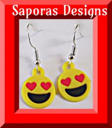 Dangle Emoji Giggle Face With Red Heart Eyes Design