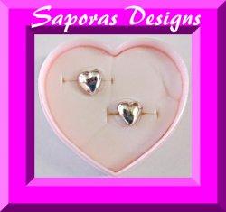 Silver Tone Heart Design Stud Earrings