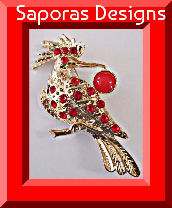 Image 0 of Gold Tone Crane Design Brooch With Red Crystals & Red Bead