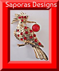 Gold Tone Crane Design Brooch With Red Crystals & Red Bead