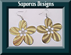 Gold & Silver In Color Dangle Flower Design Earrings
