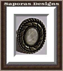 Antique Design Ring With White Bead Size 8 & Adjustable To Fit Most Fingers