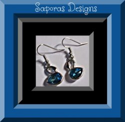 Silver Tone Swan Dangle Design Earrings With Blue & Black Crystals