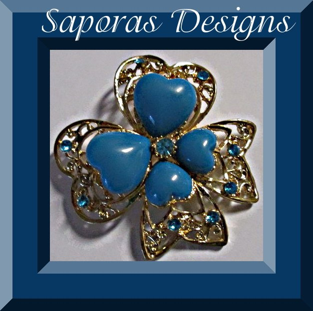 Image 0 of Gold Tone Heart / Bow Design Brooch With Blue Crystals & Blue Heart Beads
