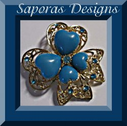 Gold Tone Heart / Bow Design Brooch With Blue Crystals & Blue Heart Beads