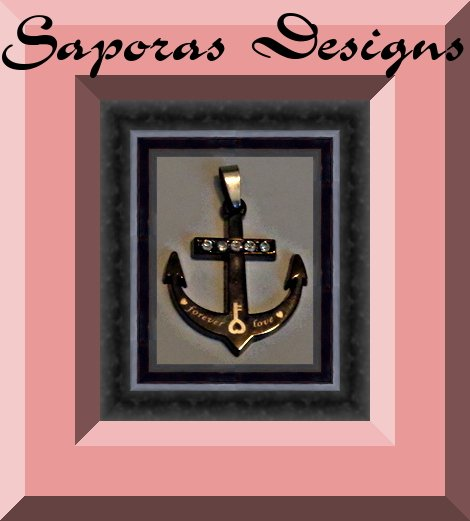 Image 0 of Anchor Design Forever Love Charm With Clear Crystals Made From Gun Metal