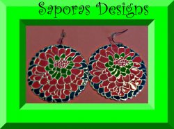 Flower Floral Round Circle Dangle Design Earrings Pink Green & Blue In Color