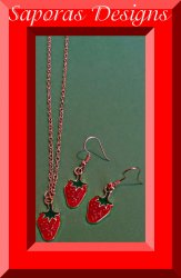 Strawberry Design Necklace & Dangle Earring Jewelry Set