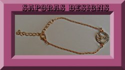 Gold Tone Peace Sign Anklet With Clear Crystals