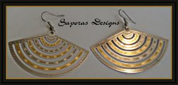 Gold & Silver Tone Dangle Fan Design Earrings