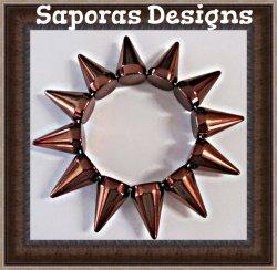 Bronze In Color Spike Design Bracelet Gothic Rock Punk Biker Unisex Stretchable