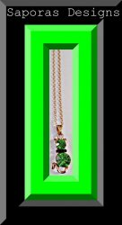 Gold Tone Necklace With Green & Black Crystals Cat / Kitten Design
