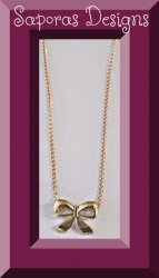 Gold In Color Bow Design Necklace