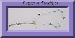 Handmade Anklet With Blue Rope & Purple Blue & Clear Beads