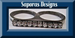Double Finger Brass Knuckle Design Ring Size 6.5 & 7.5 With Clear Crystals Biker