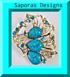 Gold Tone Peacock Design Brooch With Blue Crystals & Blue Beads
