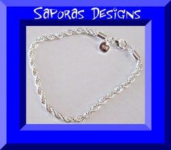 925 Sterling Silver Rope Design Chain Bracelet Unisex