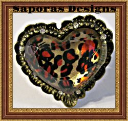 Antique Leopard Print / Heart Design Ring With Clear Crystals Adjustable To Fit