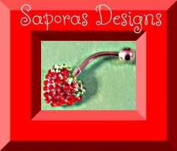 Silver Tone Strawberry Design Belly Button Ring With Green & Red Crystals