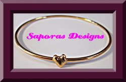 Gold Tone Bangle Heart Design Bracelet