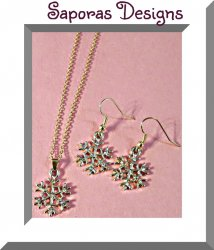 Silver & Gold Tone Snowflake Design Necklace & Dangle Earring Jewelry Set