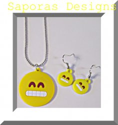 Grinning Face With Teeth Necklace & Dangle Earring Jewelry Emoji Set