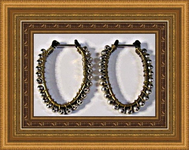 Image 0 of Antique Oval Design Drop Earrings Gold Tone With Silver Tone Beads