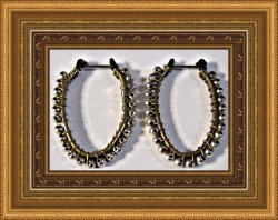 Antique Oval Design Drop Earrings Gold Tone With Silver Tone Beads
