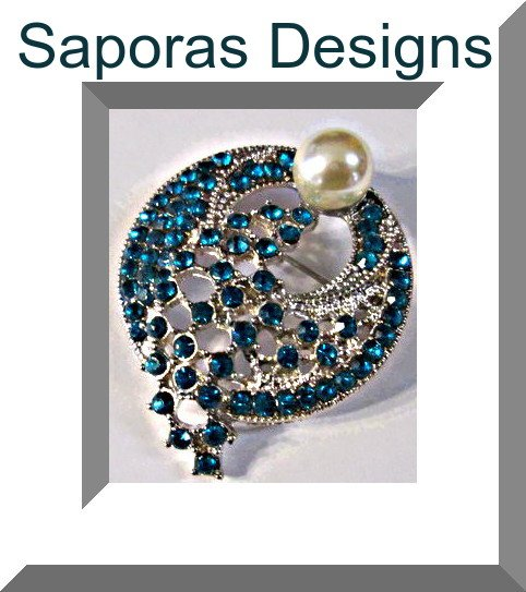 Image 0 of Silver Tone Brooch With Blue Crystals & White Faux Pearl