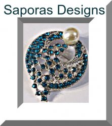 Silver Tone Brooch With Blue Crystals & White Faux Pearl