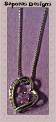 18KRP Heart Design Necklace With Purple & Clear Crystals